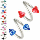 2pcs spiral twist barbell eyebrow bar ring ear piercing 9GCJ-PICK LENGTH&COLOUR