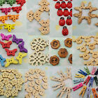 100/200 Wood Button Clip Bead Flower Heart Butterfly Car Mickey Dragonfly