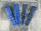 24mm Blue Deployment Strap Alligator Grain Leather Watch Band made for PANERAI X