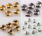 200Pcs Silver/Golden/Copper/Black Crimp Beads Covers Jewelry Making 3mm/4mm/5mm