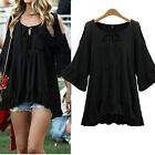 Fashion Women Summer Loose 3/4 Sleeve Casual Shirt Tops Blouse PLUS SIZE L-4XL