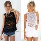 Womens Backless Lace Floral Sleeveless Casual Loose Shirt Top Tee Sexy Blouse #L