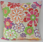 NEW FUNKY RETRO MULTI COLOURED FLOWERED CUSHION COVERS