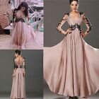 Womens Long Lace Sleeve Dress Evening Cocktail Party Bridesmaid Maxi Prom Dress