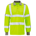 Mens Raiken Hi Vis Visibility Polo Shirt Long Sleeve High Viz Work Tee Top Size