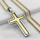 Men Stainless Steel Bible Scriptures Rotary Cross Pendant Rope Necklace Gold 13K