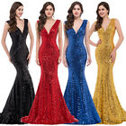 QUEEN RED Mermaid Long Sequins Women Sexy Bridesmaid Evening Cocktail Gown Dress