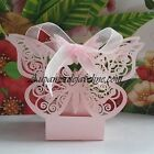 "10 Boxes to Sugarplum ""Butterfly Etched Laser"" Pink or White Deco Marriage"