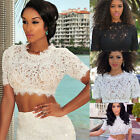 Hot Women sexy short sleeve lace crop top ladies evening club t-shirt blouse