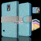 For Samsung Galaxy Luxury Diamond Leather PU WALLET POUCH Case Colors