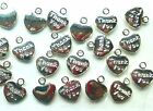 """Bright Silver Plated """"Thank  You"""" Heart Charm Beads Findings Jewellery Making"""