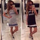 2015 Summer Women's Short Sleeve Casual Slim Long Top Short Mini Tee Shirt Dress