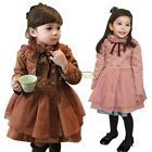 Toddler Girls Cotton Trench Dust Coat Long Sleeve Wind Jacket Outerwear Outfit
