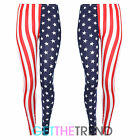 NEW WOMENS LADIES AMERICAN FLAG STARS AND STRIPES USA LONG STRETCHY LEGGINGS