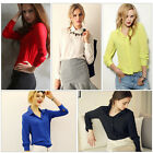 Korean Fashion Women's Lady's Loose Chiffon Tops Long Sleeve Shirt Casual Blouse