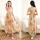 Women's Summer Long Butterfly Print Evening Cocktail Party Beach Chiffon Dress