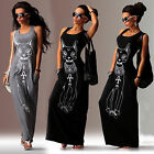 Sexy Women Cat Print Boho Long Maxi Sundress Party Summer Beach Vest Tank Dress