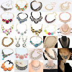 Women Jewelry Pendant Crystal Choker Chunky Bib Flower Necklace Fashion