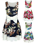 Womens Printed Bow Dress Ladies Floral Flared Sleeveless Party Summer Dress 8-14