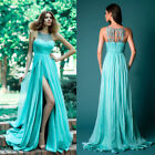 Women Bridesmaid Lace Blue Prom Gown Formal Evening Cocktail Pleated Maxi Dress