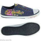 ED HARDY LADIES WOMENS UK SIZE 2.5 PURPLE STARLIGHT SHOES TRAINERS CANVAS
