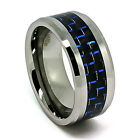 10mm Tungsten Carbide Black & Blue Carbon Fiber Wedding Band Size 7-17