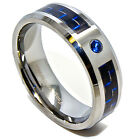 8mm Black & Blue Carbon Fiber Blue Solitaire Tungsten Carbide Wedding Ring 5-15
