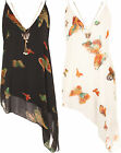 New Plus Size Womens Asymmetric Sleeveless Necklace Butterfly Print Ladies Top