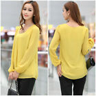 Hot Lady Women Korean Fashion Loose Chiffon Tops Long Sleeve Shirt Casual Blouse