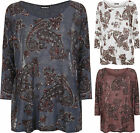New Plus Size Womens Baggy Paisley Print Long Sleeve Knitted Ladies Casual Top