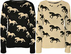 New Womens Horse Print Pattern Long Sleeve Top Ribbed Ladies Knitted Jumper 8-14