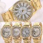 Mens Ladies Stainless Steel Crystal Heart Butterfly Dial Gold Quartz Wrist Watch