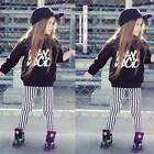 New Cute Kids Girls 2 pcs Sets O-Neck Long Sleeve Print Tops +Striped Pants EN24
