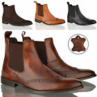 Mens boys casual formal office brogue leather slip pull on chelsea ankle boots