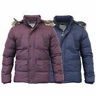 Mens Jacket Dissident Coat Padded Quilted Hooded Bubble Puffer Faux Fur Winter