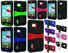 T-Mobile LG Optimus F3 MS659 HYBRID Hard Gel Rubber KICKSTAND Case +Screen Guard