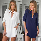 New Womens Ladies V-Neck Long Sleeve Loose T-Shirt Casual Chiffon Blouse Tops