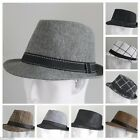 NEW MEN WOMEN FEDORA SHORT BRIM TRILBY BLACK GRAY BROWN STRAW WHITE PLAID HAT IW