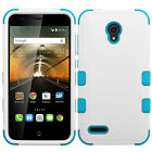 For Alcatel One Touch Conquest White Baby Blue Tough Case Cover