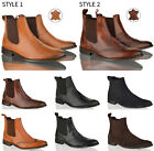 Mens Boys slip casual office work formal evening brogue chelsea ankle boots size