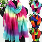 Womens Fashion Scarves Gradient Colors Stripes Stitching Long/Infinity Scarf New