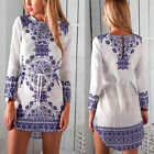 Simple Fashion Women Floral Printed Long Sleeveless Casual Party Club Mini Dress