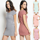 TheMogan Stripe Short Sleeve Comfy Casual Stretch Jersey Bodycon T-shirt Dress