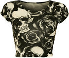 New Womens Skull Roses Monochrome Print Cap Sleeve Vest Ladies Crop Top 8-14