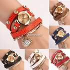 Vogue Women'S Crystal Bracelet Heart Leather Strap Chain Quartz Wrist Watch N4U8