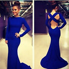 SEXY WOMENS LONG SLEEVE PROM BALL COCKTAIL PARTY DRESS FORMAL EVENING GOWN G015