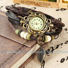 Fashion Vintage Women Weave Wrap Retro Quartz Leather Bracelet Wrist Watch