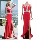 Sexy Women Lace Open Side Split Long Cotton Formal Wedding Bridesmaid Red Dress