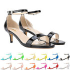 LADIES WOMENS SANDALS LOW HEEL EVENING ANKLE STRAP MID HEELS PARTY SIZE 2-9