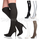 WOMENS LADIES HIGH HEEL POINTED OVER THE KNEE STRETCH RIDING BOOTS SIZE